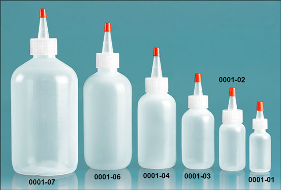 Plastic Bottles, Natural LDPE Boston Round Bottles w/ Spout Cap Red Tip, Caps Have .030 Hole