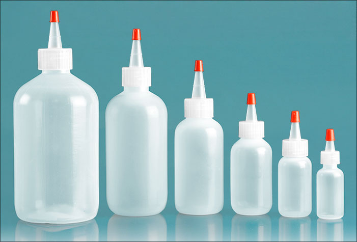 LDPE Plastic Bottles, Natural Boston Round Bottles w/ Spout and Red Tip Cap