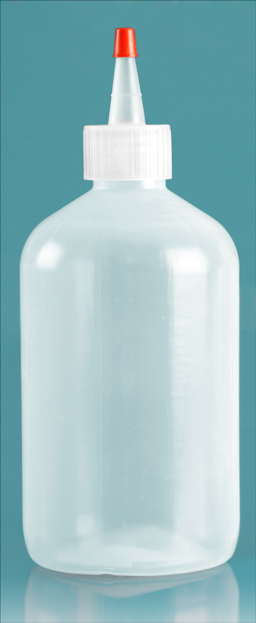 16 oz Natural LDPE Boston Round Bottles w/ Spout and Red Tip Cap