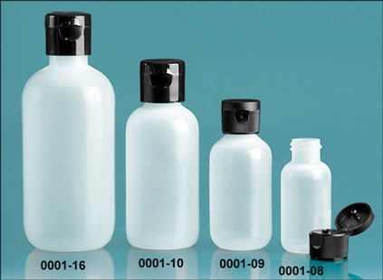 LDPE Plastic Bottles, Natural Boston Round Bottles w/ Black Ribbed or Smooth Snap Caps