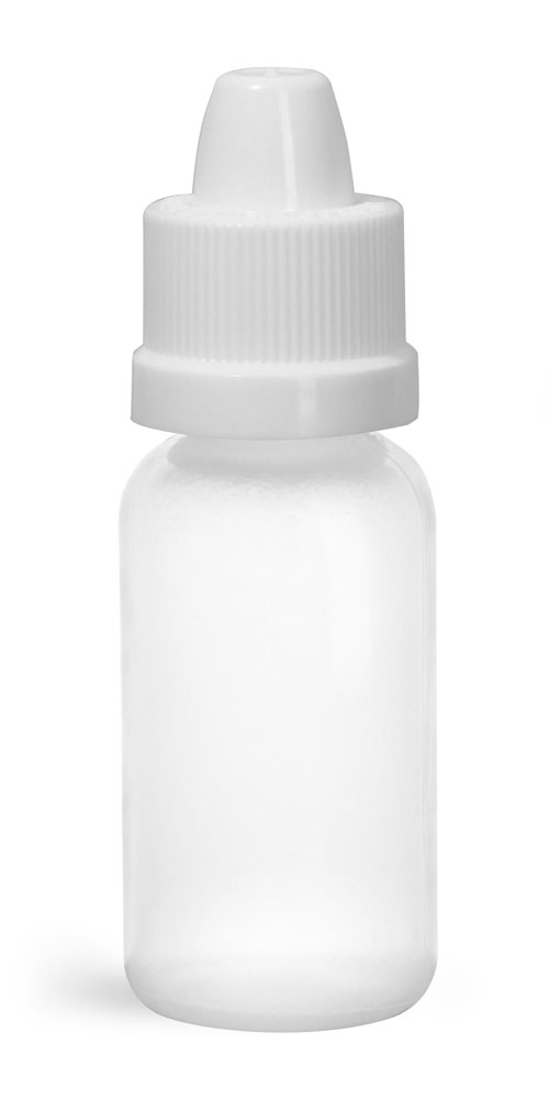 1/2 oz w/ White Cap Plastic Bottles, Natural LDPE Boston Rounds w/ Dropper Tip Inserts and Ribbed Child Resistant Caps