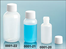 LDPE Plastic Bottles, Natural Boston Round Bottles w/ White Screw Caps