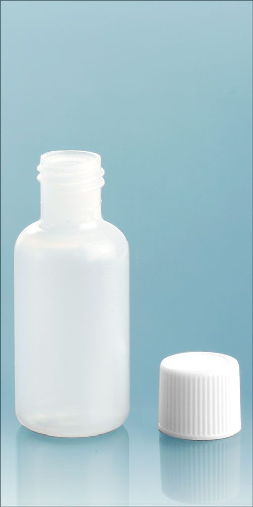 Natural LDPE Boston Round Bottles w/ White Screw Caps