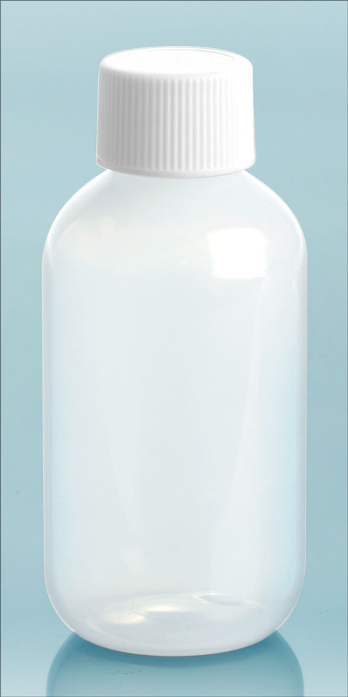 2 oz Natural LDPE Boston Round Bottles w/ White Screw Caps