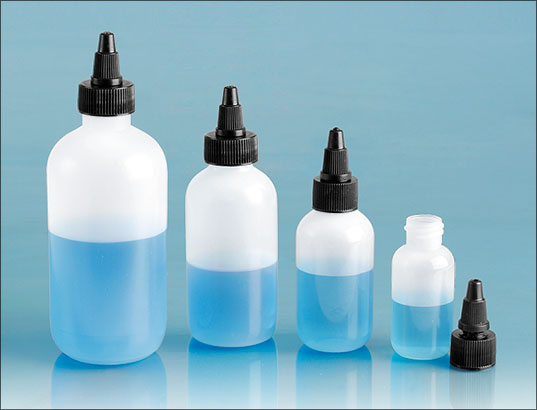 LDPE Plastic Bottles, Natural Boston Round Bottles w/ Black LDPE Twist Top Caps