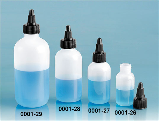 Plastic Bottles, Natural LDPE Boston Round Bottles w/ Black Twist Top Caps