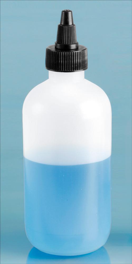 8 oz Natural LDPE Boston Round Bottles w/ Black LDPE Twist Top Caps