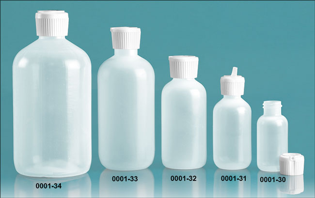 Plastic Bottles, Natural LDPE Boston Round Bottles w/ Flip Top Spout Caps