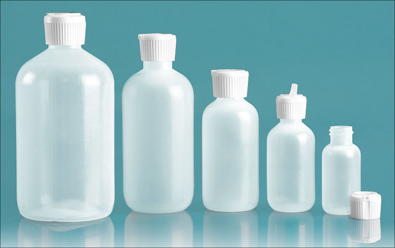 LDPE Plastic Bottles, Natural Boston Round Bottles w/ Flip Top Spout Caps