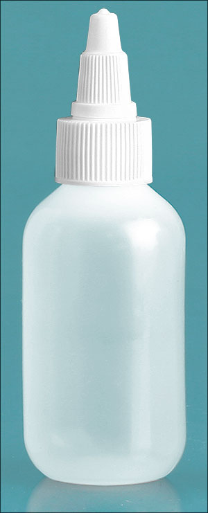 Plastic Bottles, Natural LDPE Boston Round Bottles w/ White Twist Top Caps
