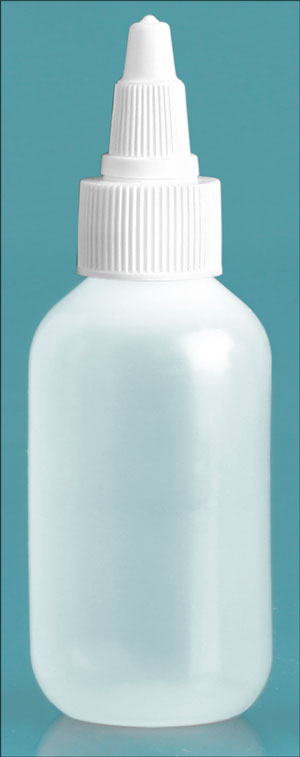 LDPE Plastic Bottles, Natural Boston Round Bottles w/ White Twist Top Caps