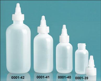 LDPE Plastic Bottles, Natural Boston Round Bottles w/ Natural Twist Top Caps