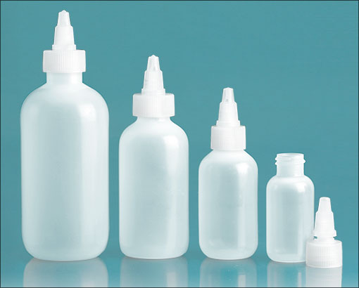 LDPE Plastic Bottles, Natural Boston Round Bottles w/ Natural Twist Top Caps