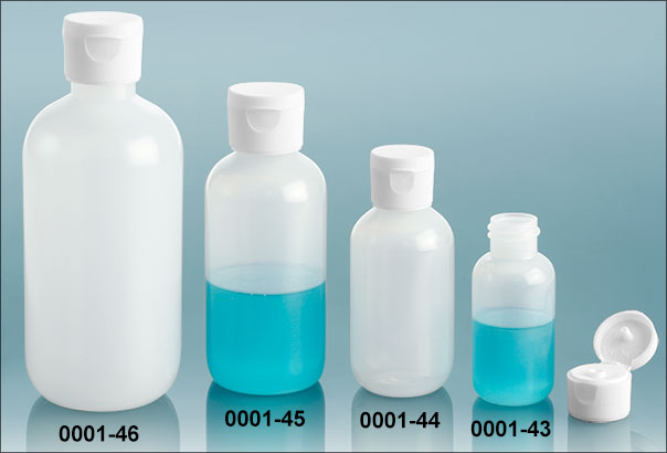 Plastic Bottles, Natural LDPE Boston Round Bottles w/ White Ribbed Snap Caps