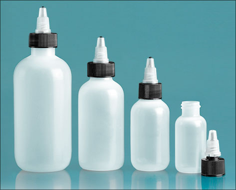 LDPE Plastic Bottles, Natural Boston Round Bottles w/ Black/ Natural Twist Top Caps
