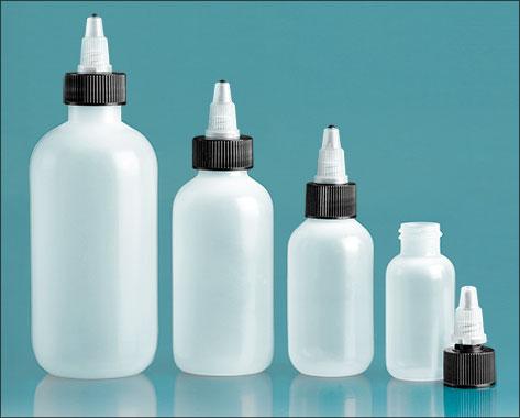 LDPE Plastic Bottles, Natural Boston Round Bottles w/ Black/ Natural Twist Top Caps