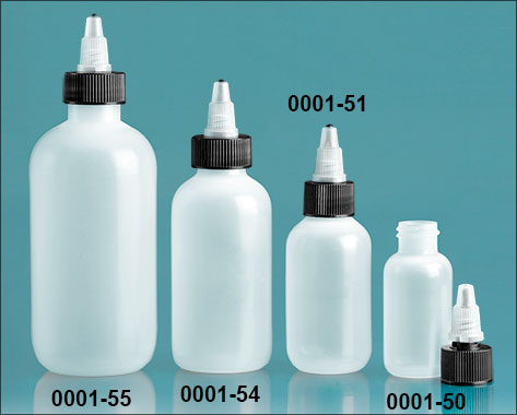 Plastic Bottles, Natural LDPE (Soft) Boston Rounds w/ Black/ Natural Twist Top Caps