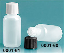 Plastic Bottles, Natural LDPE Boston Round Bottles w/ Caps and Orifice Reducers