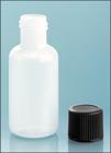 1/2 oz1/2 oz Natural LDPE Boston Round Bottles w/ Black Lined Screw Caps