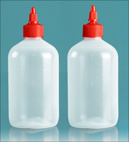 LDPE Plastic Bottles, Natural Boston Round Bottles with Red Twist Top Caps