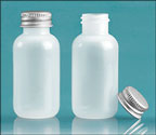 Plastic Bottles, Natural LDPE (Soft) Boston Rounds w/ Silver Aluminum PE Lined Caps
