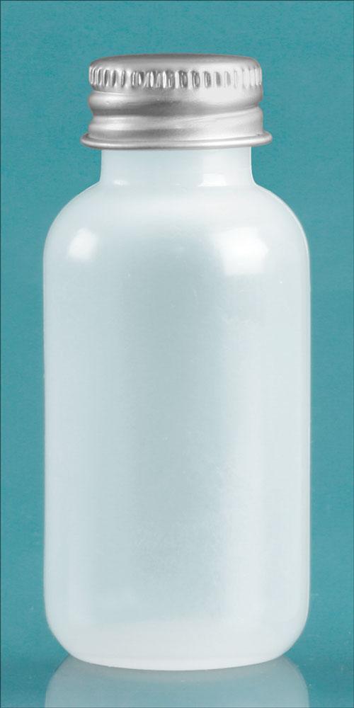 1 oz Natural LDPE Boston Boston Rounds w/ Silver Aluminum PE Lined Caps