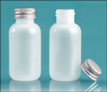 LDPE Plastic Bottles, Natural Boston Round Bottles w/ Silver Aluminum PE Lined Caps