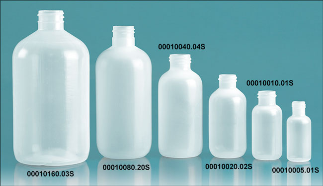 Natural LDPE Boston Round Bottles (Bulk), Caps NOT Included