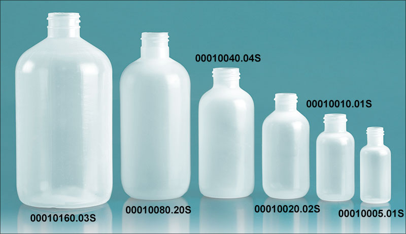 Plastic Bottles, Natural LDPE Boston Rounds (Bulk), Caps NOT Included