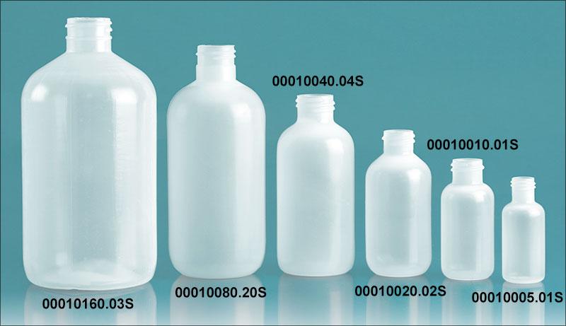 Plastic Bottles, Natural LDPE Boston Rounds (Bulk), Caps NOT Included