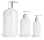 HDPE Plastic Bottles, Natural Boston Round Bottles w/ White Pumps