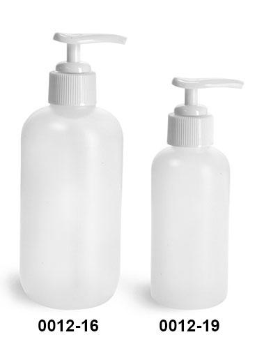 Plastic Bottles, Natural HDPE Boston Round Bottles w/ Ribbed White Pumps