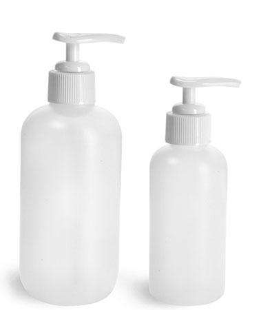 HDPE Plastic Bottles, Natural Boston Round Bottles w/ Ribbed White Pumps