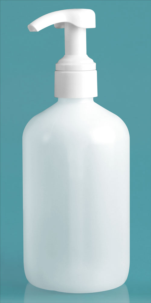 16 oz Natural HDPE Boston Rounds w/ Smooth White 4 cc Lotion Pumps