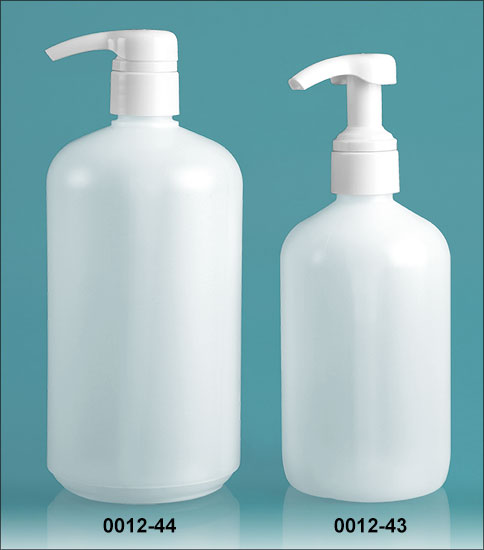 Plastic Bottles, Natural HDPE Boston Round Bottles w/ White Smooth 4 Cc Lotion Pumps