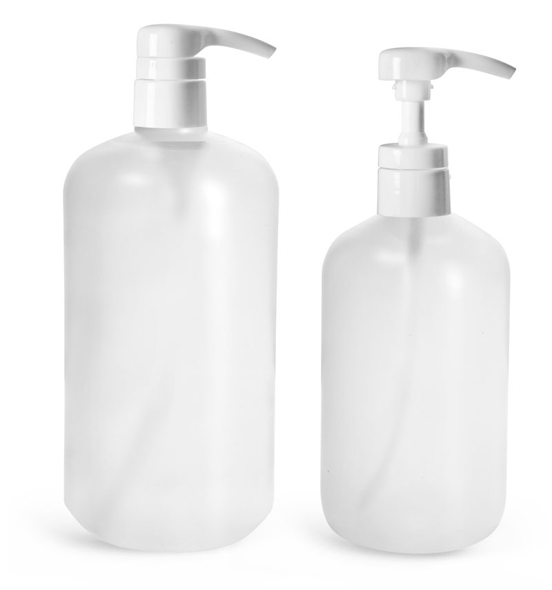 HDPE Plastic Bottles, Natural Boston Round Bottles w/ Smooth White 4 cc Lotion Pumps