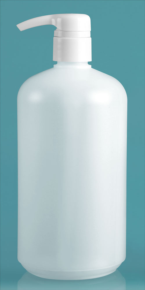 Natural HDPE Boston Rounds w/ Smooth White 4 cc Lotion Pumps