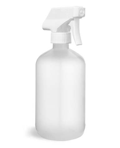 HDPE Plastic Bottles, Natural Boston Round Bottles w/ White Trigger Sprayers