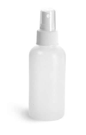 Plastic Bottles, Natural HDPE Boston Round Bottles w/ White Sprayers
