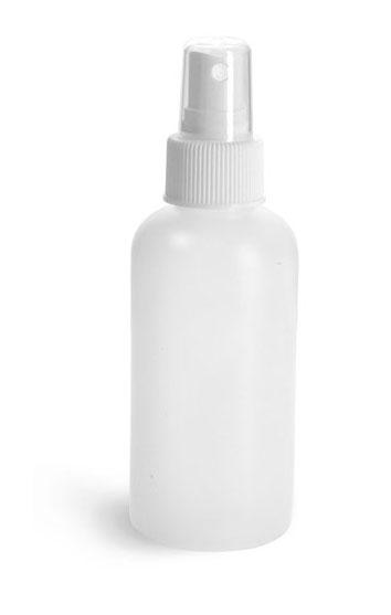 Plastic Bottles, Natural HDPE Boston Round Bottles w/ White Sprayers