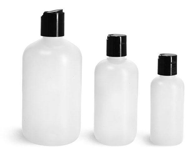HDPE Plastic Bottles, Natural Boston Round Bottles w/ Black Disc Top Caps