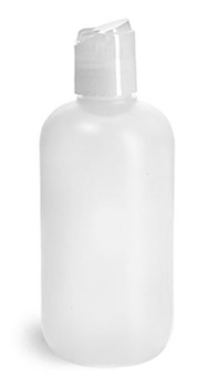 Plastic Bottles, Natural HDPE Boston Rounds w/ Natural Disc Top Caps
