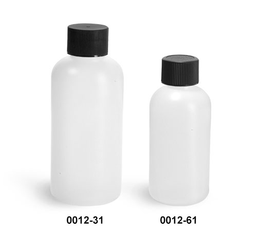 Plastic Bottles, Natural HDPE Boston Round Bottles w/ Black Lined Screw Caps