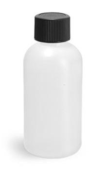 Plastic Bottles, Natural HDPE Boston Round Bottles w/ Black Lined Screw Caps