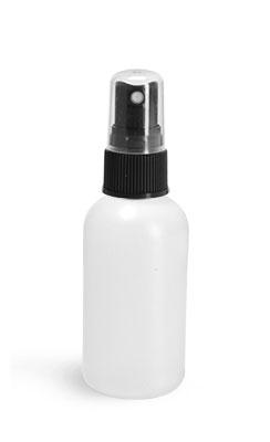 HDPE Plastic Bottles, Natural Boston Round Bottles w/ Black Sprayers