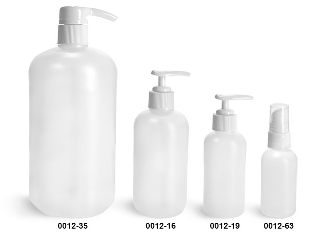 Plastic Bottles, Natural HDPE Boston Round Bottles w/ White Pumps
