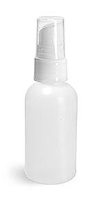 Natural HDPE Boston Round Bottles w/ White Treatment Pumps