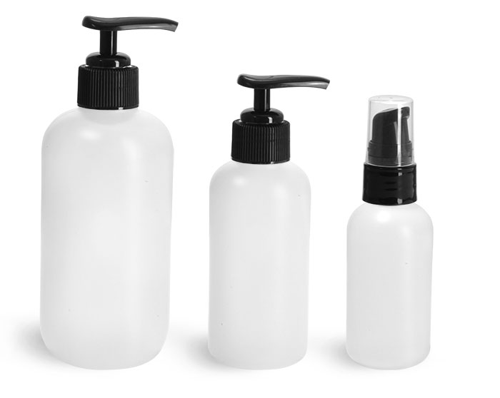 HDPE Plastic Bottles, Natural Boston Round Bottles w/ Black Lotion Pumps
