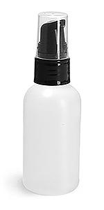 Natural HDPE Boston Round Bottles w/ Black Treatment Pumps