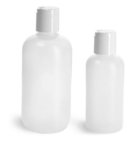 HDPE Plastic Bottles, Natural Boston Round Bottles w/ White Disc Top Caps